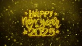 desejando : Happy New Year 2025 wish Text Golden Glitter Glowing Lights Shine Particles. Greeting card, Wishes, Celebration, Party, Invitation, Gift, Event, Message, Holiday, Festival 4K Loop Animation.