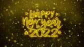 carte : Happy New Year 2022 wish Text Golden Glitter Glowing Lights Shine Particles. Greeting card, Wishes, Celebration, Party, Invitation, Gift, Event, Message, Holiday, Festival 4K Loop Animation. Filmati Stock