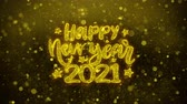 frohe weihnachten : Happy New Year 2021 wish Text Golden Glitter Glowing Lights Shine Particles. Greeting card, Wishes, Celebration, Party, Invitation, Gift, Event, Message, Holiday, Festival 4K Loop Animation. Stock Footage