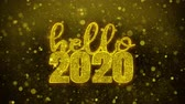 tarjeta fin de año : Hello 2020 wish Text Golden Glitter Glowing Lights Shine Particles. Greeting card, Wishes, Celebration, Party, Invitation, Gift, Event, Message, Holiday, Festival 4K Loop Animation.