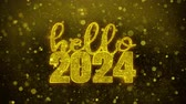 affettuoso : Hello 2024 wish Text Golden Glitter Glowing Lights Shine Particles. Greeting card, Wishes, Celebration, Party, Invitation, Gift, Event, Message, Holiday, Festival 4K Loop Animation.