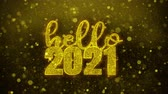 tarjeta fin de año : Hello 2021 wish Text Golden Glitter Glowing Lights Shine Particles. Greeting card, Wishes, Celebration, Party, Invitation, Gift, Event, Message, Holiday, Festival 4K Loop Animation. Archivo de Video