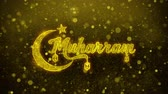 leider : Muharram wish Text Golden Glitter Glowing Lights Shine Particles. Greeting card, Wishes, Celebration, Party, Invitation, Gift, Event, Message, Holiday, Festival 4K Loop Animation. Stockvideo