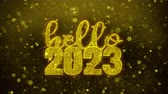 tarjeta fin de año : Hello 2023 wish Text Golden Glitter Glowing Lights Shine Particles. Greeting card, Wishes, Celebration, Party, Invitation, Gift, Event, Message, Holiday, Festival 4K Loop Animation.