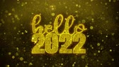frohe weihnachten : Hello 2022 wish Text Golden Glitter Glowing Lights Shine Particles. Greeting card, Wishes, Celebration, Party, Invitation, Gift, Event, Message, Holiday, Festival 4K Loop Animation.