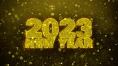 new years card : 2023 New Year Sky wish Text Golden Glitter Glowing Lights Shine Particles. Greeting card, Wishes, Celebration, Party, Invitation, Gift, Event, Message, Holiday, Festival 4K Loop Animation. Stock Footage