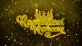 raya : Ramadan Kareem wish Text Golden Glitter Glowing Lights Shine Particles. Greeting card, Wishes, Celebration, Party, Invitation, Gift, Event, Message, Holiday, Festival 4K Loop Animation. Stock Footage
