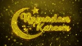 kalligraphie arabisch : Ramadan Kareem wish Text Golden Glitter Glowing Lights Shine Particles. Greeting card, Wishes, Celebration, Party, Invitation, Gift, Event, Message, Holiday, Festival 4K Loop Animation. Videos