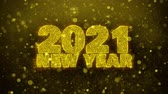 new years invitation : 2021 New Year wish Text Golden Glitter Glowing Lights Shine Particles. Greeting card, Wishes, Celebration, Party, Invitation, Gift, Event, Message, Holiday, Festival 4K Loop Animation. Stock Footage