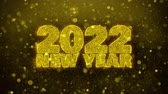 chinesisches neujahr : 2022 New Year wish Text Golden Glitter Glowing Lights Shine Particles. Greeting card, Wishes, Celebration, Party, Invitation, Gift, Event, Message, Holiday, Festival 4K Loop Animation.
