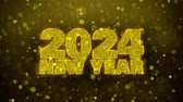 cartão : 2024 New Year wish Text Golden Glitter Glowing Lights Shine Particles. Greeting card, Wishes, Celebration, Party, Invitation, Gift, Event, Message, Holiday, Festival 4K Loop Animation.