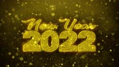 invito festa : New Year 2022 wish Text Golden Glitter Glowing Lights Shine Particles. Greeting card, Wishes, Celebration, Party, Invitation, Gift, Event, Message, Holiday, Festival 4K Loop Animation.