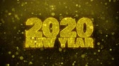 明けましておめでとうございます : 2020 New Year wish Text Golden Glitter Glowing Lights Shine Particles. Greeting card, Wishes, Celebration, Party, Invitation, Gift, Event, Message, Holiday, Festival 4K Loop Animation.
