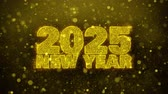 gratulace : 2025 New Year wish Text Golden Glitter Glowing Lights Shine Particles. Greeting card, Wishes, Celebration, Party, Invitation, Gift, Event, Message, Holiday, Festival 4K Loop Animation.