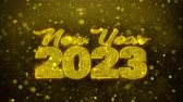 tarjeta de felicitacion : New Year 2023 wish Text Golden Glitter Glowing Lights Shine Particles. Greeting card, Wishes, Celebration, Party, Invitation, Gift, Event, Message, Holiday, Festival 4K Loop Animation. Archivo de Video