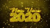 the end of the year : New Year 2020 wish Text Golden Glitter Glowing Lights Shine Particles. Greeting card, Wishes, Celebration, Party, Invitation, Gift, Event, Message, Holiday, Festival 4K Loop Animation. Stock Footage