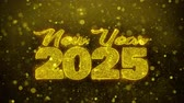 frohe weihnachten : New Year 2025 wish Text Golden Glitter Glowing Lights Shine Particles. Greeting card, Wishes, Celebration, Party, Invitation, Gift, Event, Message, Holiday, Festival 4K Loop Animation. Stock Footage
