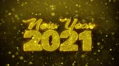 invito festa : New Year 2021 wish Text Golden Glitter Glowing Lights Shine Particles. Greeting card, Wishes, Celebration, Party, Invitation, Gift, Event, Message, Holiday, Festival 4K Loop Animation.