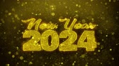 frohe weihnachten : New Year 2024 wish Text Golden Glitter Glowing Lights Shine Particles. Greeting card, Wishes, Celebration, Party, Invitation, Gift, Event, Message, Holiday, Festival 4K Loop Animation. Stock Footage