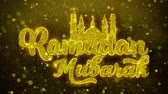 ramadan kareem : Ramadan Mubarak wish Text Golden Glitter Glowing Lights Shine Particles. Greeting card, Wishes, Celebration, Party, Invitation, Gift, Event, Message, Holiday, Festival 4K Loop Animation.