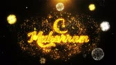 caligrafia : Muharram Text wish on Firework Display Explosion Particles. Greeting card, Wishes, Celebration, Party, Invitation, Gift, Event, Message, Holiday Festival 4K Loop Animation