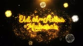 eid ul kurba : Eid al-Adha mubarak Text wish on Firework Display Explosion Particles. Greeting card, Wishes, Celebration, Party, Invitation, Gift, Event, Message, Holiday, Festival 4K Loop Animation.