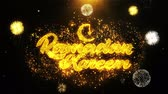 arabier : Ramadan Kareem Text wish on Firework Display Explosion Particles. Greeting card, Wishes, Celebration, Party, Invitation, Gift, Event, Message, Holiday, Festival 4K Loop Animation.