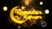 ramadan kareem : Ramadan Kareem Text wish on Firework Display Explosion Particles. Greeting card, Wishes, Celebration, Party, Invitation, Gift, Event, Message, Holiday, Festival 4K Loop Animation.