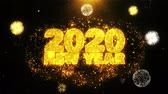 décembre : 2020 New Year Text wish on Firework Display Explosion Particles. Greeting card, Wishes, Celebration, Party, Invitation, Gift, Event, Message, Holiday, Festival 4K Loop Animation.