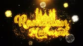caligrafia : Ramadan Mubarak Text wish on Firework Display Explosion Particles. Greeting card, Wishes, Celebration, Party, Invitation, Gift, Event, Message, Holiday, Festival 4K Loop Animation. Stock Footage