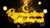 ramadan kareem : Ramadan Mubarak Text wish on Firework Display Explosion Particles. Greeting card, Wishes, Celebration, Party, Invitation, Gift, Event, Message, Holiday, Festival 4K Loop Animation. Stock Footage