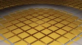 mikrovlnná trouba : Quick White Circle Waves moving along a floor of Golden Cubes