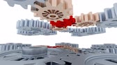 metalic : Right to Left Camera Slow Move Between Many Red Silver and Copper Gears with a White Background Stock Footage