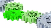 metalic : Gray Gears with Green On Green Background