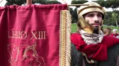 local de nascimento : ROME, ITALY - APRIL 19, 2015: Soldier of the Legion XIII Gemina with ancient Rome, participating in historical re-enactment with the occasion of the 2768th anniversary of Rome.