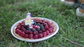 vinte anos : Woman hands take plate with berry cake with candles in the form of numbers 45