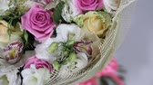 casamento : Pink roses and eustoma bouquet with bow turns