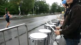 DNIPRO, UKRAINE- MAY 20: Drummers supporting runners during 3rd INTERPIPE Dnipro Half Marathon 2018, May 20, 2018 in Dnipro, Ukraine