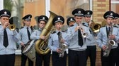 DNIPRO, UKRAINE- AUGUST 7, 2018: Musician military band of the Ukrainian national police plays the trumpet on the march on parade for national championship of canine national polices on August 7, 2018 in Dnipro, Ukraine