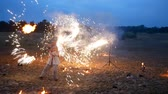 DNIPRO, UKRAINE - JUNE 23, 2018: Fire show at celebrations of Ivana Kupala, June 23, 2018 in Dnipro, Ukraine