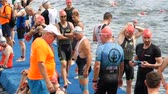 DNIPRO, UKRAINE-June 9, 2019: Dnipro Triathlon Festival, athletes are preparing for competition of swimming, June 9, 2019 in Dnipro, Ukraine Vídeos