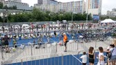 DNIPRO, UKRAINE-June 9, 2019: Dnipro Triathlon Festival, start of cycling competitions, June 9, 2019 in Dnipro, Ukraine