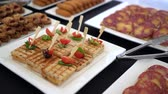 bagietka : Beautifully decorated catering banquet table with sandwich. Wideo