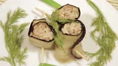 diet : Eggplant rolls with filling of forcemeat. Delicious dish of eastern cuisine