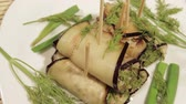 beringela : Eggplant rolls with filling of forcemeat. The finished dish of eastern cuisine