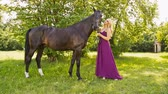 Beautiful girl in the park with a horse, Woman with make-up and dress in caring for a horse Stock Footage