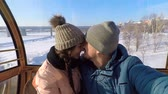 стиль жизни : The guy kisses the girl in the nose and on the lips. Стоковые видеозаписи