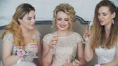 životní styl : 20s girls sit on couch at home and drink champagne from glasses.