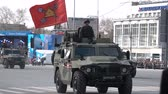 haki : Parade in honor of victory in the Second World War. A military car. Stok Video