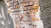 weathered : Ruined wall of an old building closeup. Renovate the building facade plastering and brick. Clear place for your isolated text. Empty space for your title copy space. Copyspace logo to blank design 4k. Stock Footage